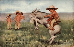 Four small boys dressed as cowboys, one of them riding a donkey