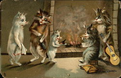 Five Cats by a Fireplace with Guitar, Towel, Meat, and Bottle Postcard