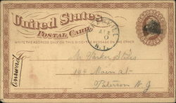 United States Postal Card, U. S. Postage One Cent