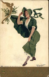 Shamrock's Greetings - Woman in Green Exposing Ankle