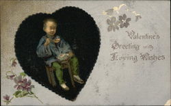Valentines Greeting with Boy Leaning in Chair while Eating