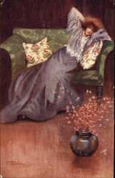 Woman in Purple Gown Reclined on Green Sofa, Mary Morsfall
