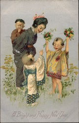 Asian Family in Field with Flowers