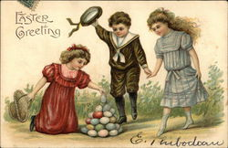 Easter Greeting with Young Girls and Boy Stacking Eggs