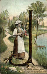 Letter J - Woman with Basket of Flowers by Lake and a Tree Stump