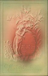 Embossed Easter Greeting with Child, Egg, and Flower