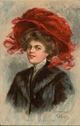 My Chum - Woman in Large Red Feathered Hat