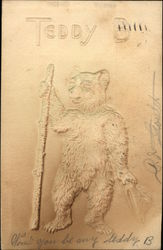 Teddy B - Embossed - Bear Holding Hat and Walking Stick
