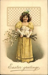Easter Greetings with Girl in Yellow holding two Kittens