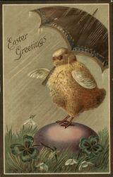 Easter Greetings Chick with Umbrella in the Rain