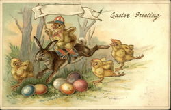 Easter Greeting with Chicks, Bunny, and Colored Eggs