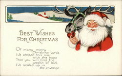 Best Wishes For Christmas - Santa Feeding an Apple to a Reindeer