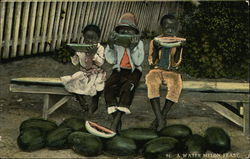 A Water Melon Feast with Three Children on a Bench