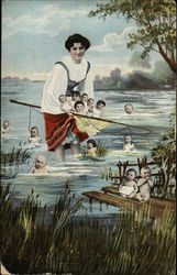 Woman in Water Surrounded by Babies