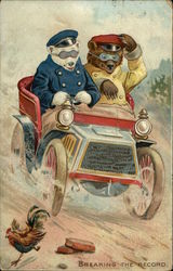 Illustration of Two Bears in a Car with a Rooster on the Road