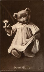 Good Night - Tedddy Bear in Nightshirt Holding Candle