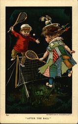 Two Children Playing Tennis