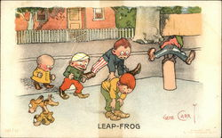 Children and Dogs Playing Leap-Frog Illustration
