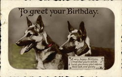 Two German Shepherd with Birthday Greetings
