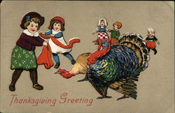 Thanksgiving Greetings Children with Turkeys