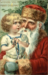 Santa and Child Wishing you a Merry Christmas