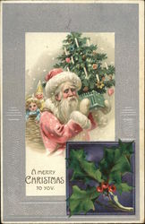 Mistletoe and Santa Carrying Tree and Toys
