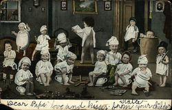 Many Children in White Pajama Gowns on Chamber Pots and Playing