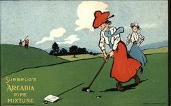 Women Golfing and Surbrug's Arcadia Pipe Mixture Advertisment
