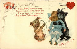 A bear hugging a girl and a dog playing Cupid with a bow and arrow