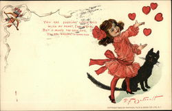 Young Girl in Red with Black Cat Tossing Hearts Into The Air