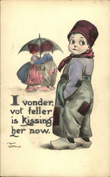 I vonder, vot feller is kissing her now
