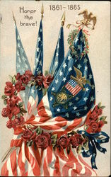 Honor the Brave! 1861-1865 with American Flags, Eagles, and Flowers