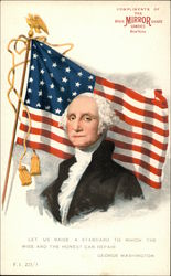 Illustrated Bust of George Washington in Front of Flag