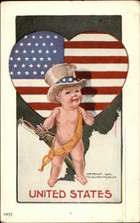 Baby in Top Hat, American Flag Heart
