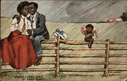 Black Couple Embracing in Rain, Cherub Cold and Wet Postcard