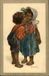 """You Made Me Lub You"" - Two Black Children Kissing"