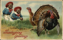 Two African Boys with Two Turkeys