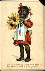 """I lubs yo', deah, wid my heart's whole power"" - Young Black Girl holding Sunflowers"