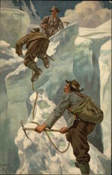 Three Men Climbing An Icy Mountain