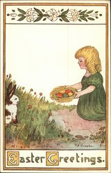 Easter Greetings Child with Basket of Eggs and Rabbit