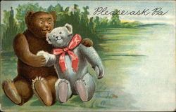 Brown and Grey Teddy Bears in Love