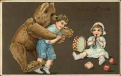 Bonne Annee - Boy Carrying Stuffed Bear on Back and Girl Blowing Horn