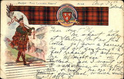 Scottish Clan Robertson with tartan, coat of arms and piper