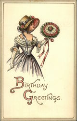 Woman in a Hat with a Bouquet Birthday Greetings