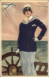 Lady in sailor suit on a boat