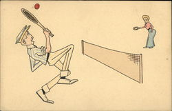 Cartoon Couple Playing Tennis