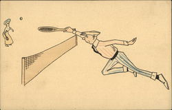 Man and Woman Playing Tennis Illustration