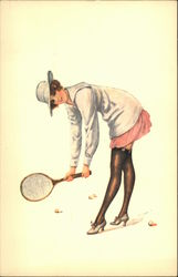 Woman in Garters Playing Tennis