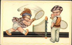 Illustration, Two Children Playing Tennis