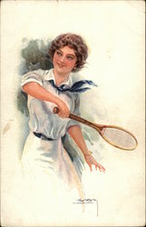 Woman in White Dress and Blue Tie Playing Tennis